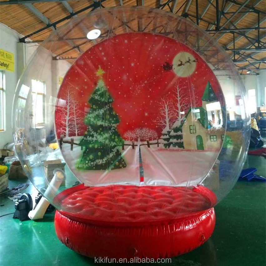 Factory sale directly attractive style inflatable snow globe, giant dubai plastic xmas inflatable snow globe with photo insert