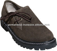 German Bavarian Haferl Shoes real Suede Leather black