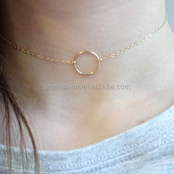 Dainty Girl Gift Jewelry Karma Circle Ring Pendant 14K Gold Filled Jewelry Choker Necklace