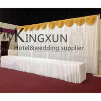 Fancy Looking Wedding Backdrop Curtains With Gold Swags