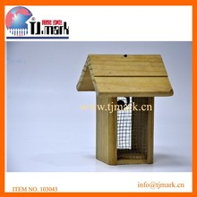 small wooden bird house with steel net