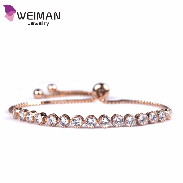 CZ Stone Adjustable Charm Bracelet 3 Colors Plating Copper Metal Slider box chain bracelet Women <strong>Jewelry</strong>