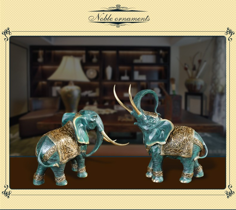 bronze elephant figurine for home decoration indoor desk brass elephant set home deco statue
