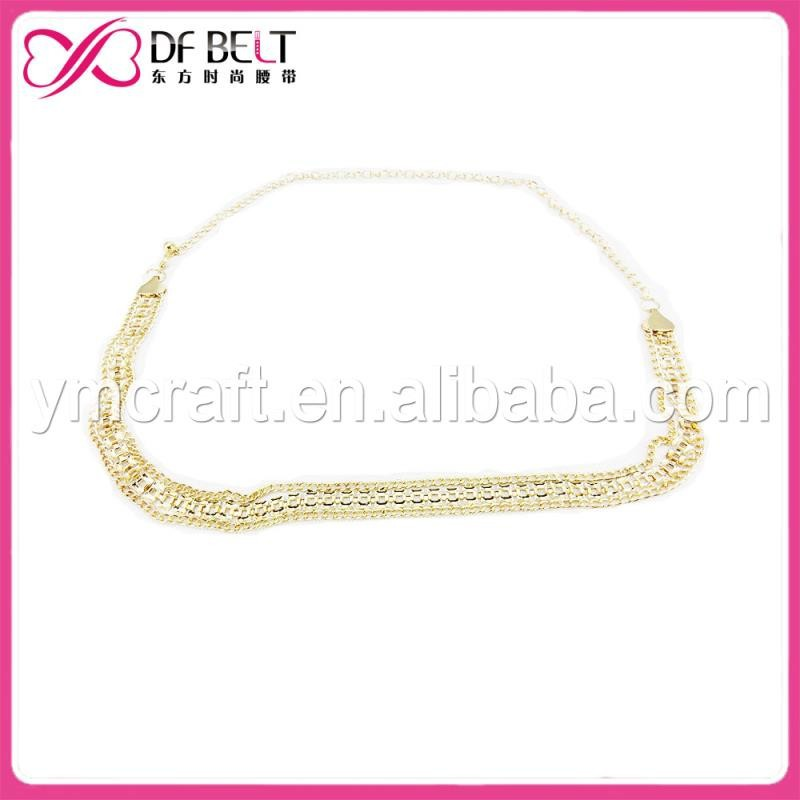 chain belt with crystal beaded Goldcolor