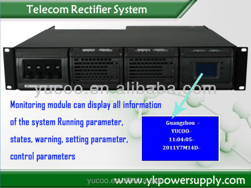 Telecom DC Power Supply System - 1U with two rectifier modules 48V/2KW/30A