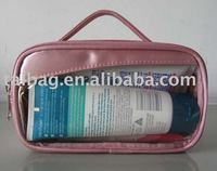 satin sponge with clear pvc window cosmetic bag