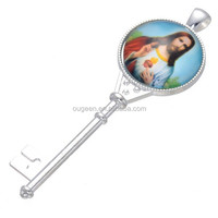Jesus Christian pendant clover flag photo gold key pendant