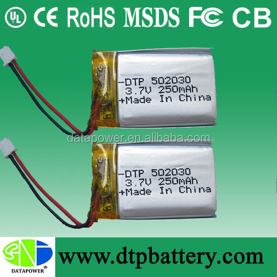 Small Li-ion Polymer 3.7v 250mah Electric Toys Battery DTP502030