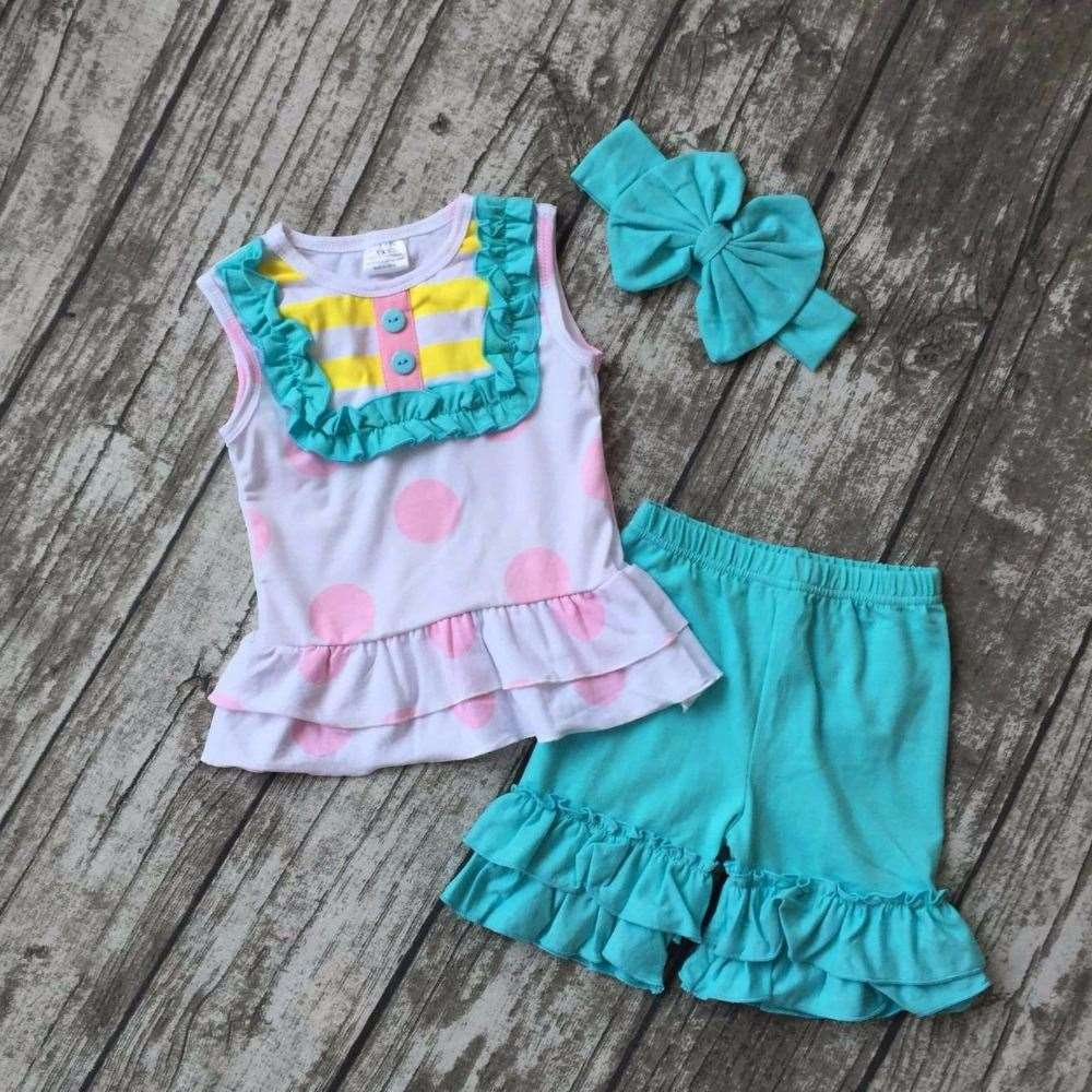 new arrival Summer outfit baby girls cute clothes aqua polka dot cotton ruffles kids shorts set baby kids match accessories