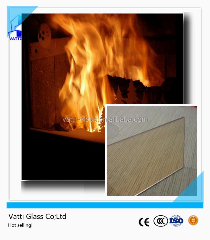 Clear can be customized size 4mm 5mm high temperature ceramic glass for fireplaces