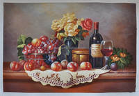 realist wine bottle and glass still life fruit oil painting