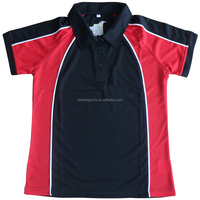 customized cut and sew black red Polo Shirts for company