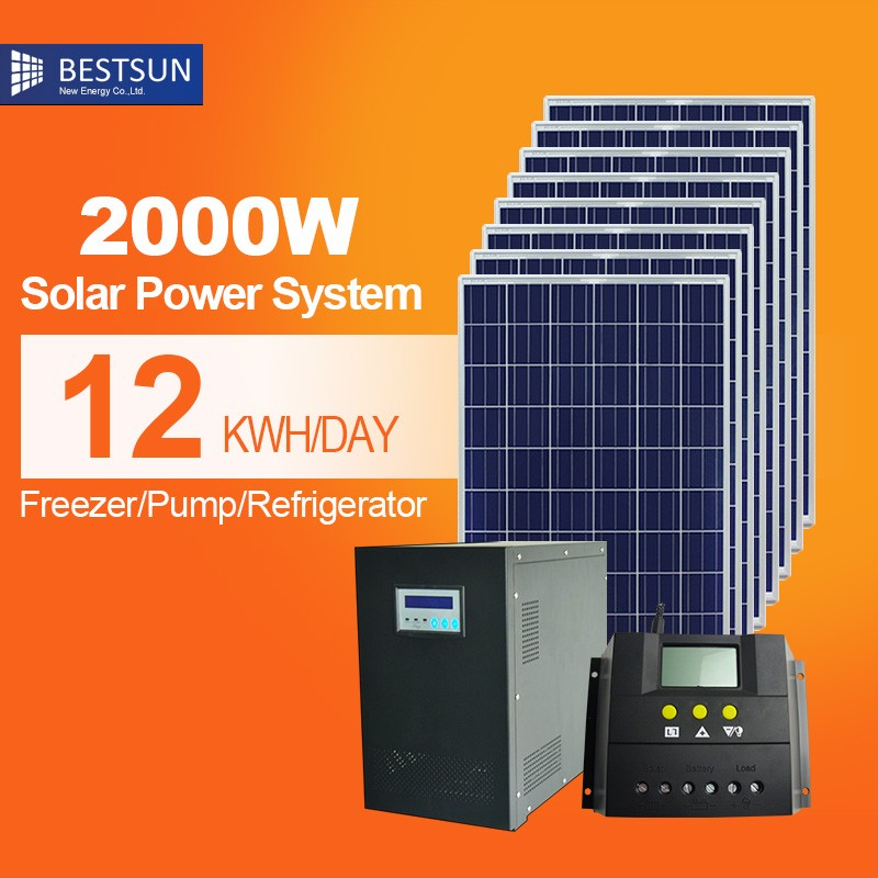 Best sun Customized Cheapest price 2000W <strong>Energy</strong> save off grid power system solar panels for home system