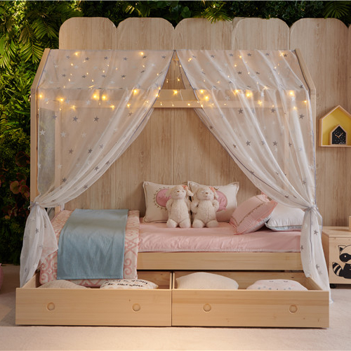 Golden supplier customized logo bedroom solid wood Kids House Frame Single <strong>Bed</strong>
