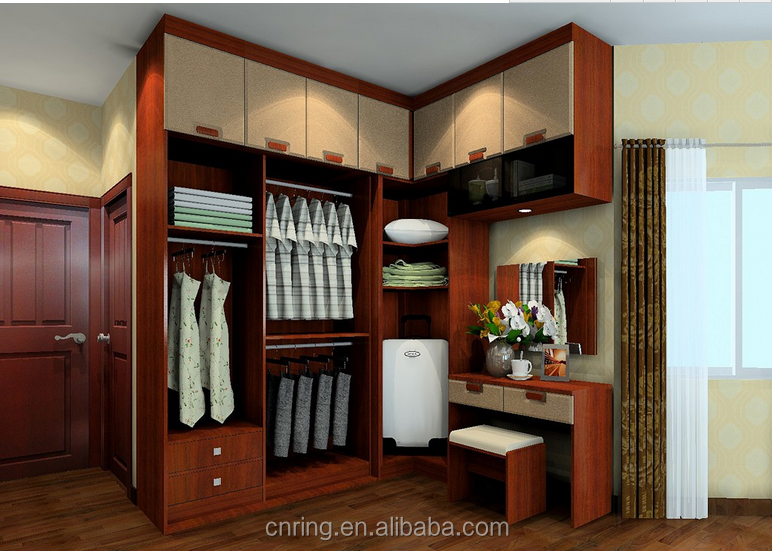 2015 latest laminate wooden bedroom wall wardrobe design with cheap price