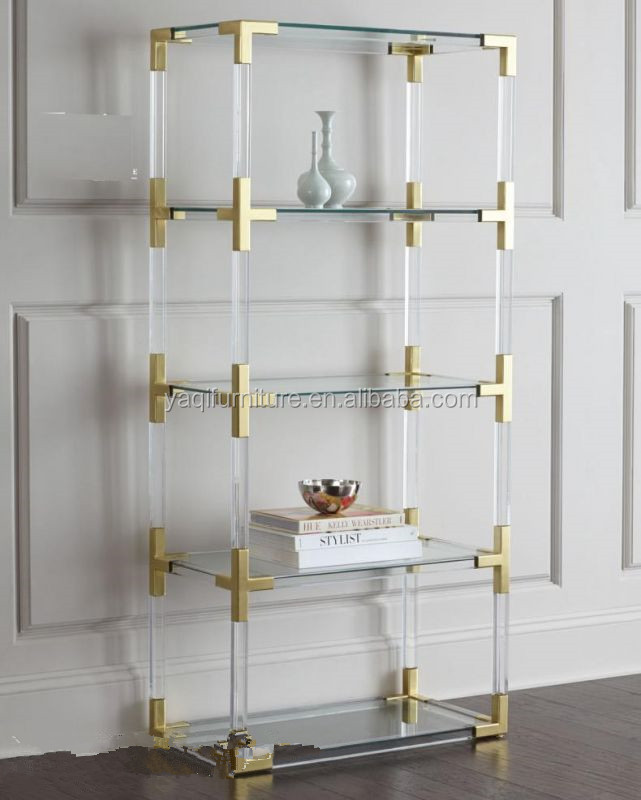 Modern clear Acrylic Home Office Storage 5-Shelf Bookcase with brass stainless steel