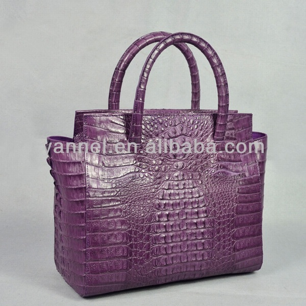 real Crocodile leather handbags fashion leather bag exotic handbag purple