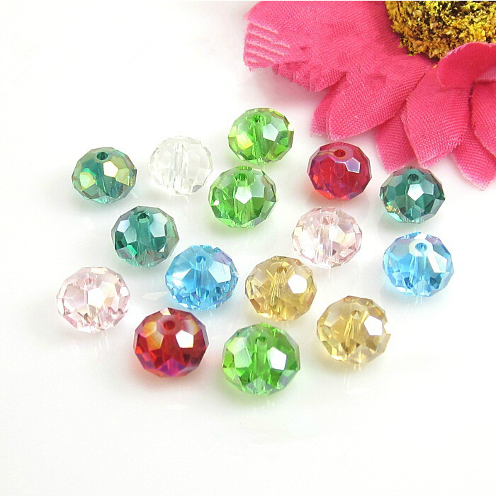 Mixed AB Color Crystal Glass Spacer Beads Flat Faceted Shape 3*4mm / 4*6mm / 6*8mm