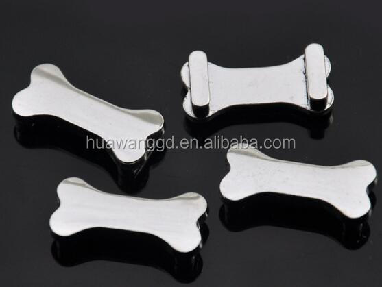 Cheap plain alloy bone slide bead for personalized dog collar