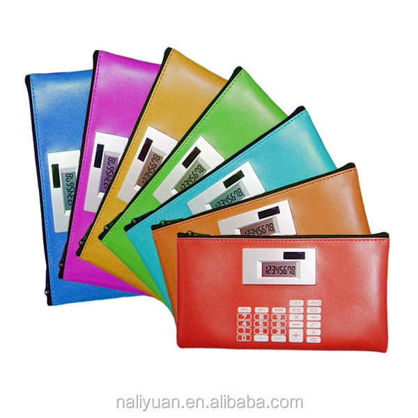 8 digital wallet bag calculator with solar