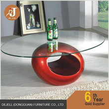 Manufacturer Cheap Oval Glass Top Cocktail Table Coffee Table