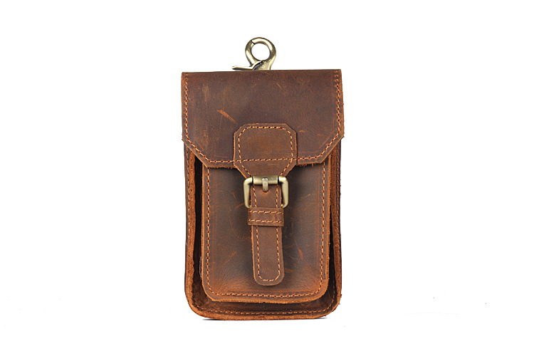 pb011 Handmade Crazy Horse Leather Mobile Bag for Men