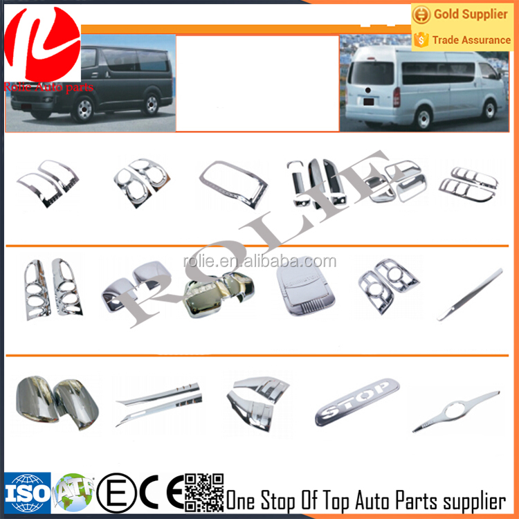 Toyota big hiace 2005-2016 chrome cover accessories for door headlight tail light fuel tank