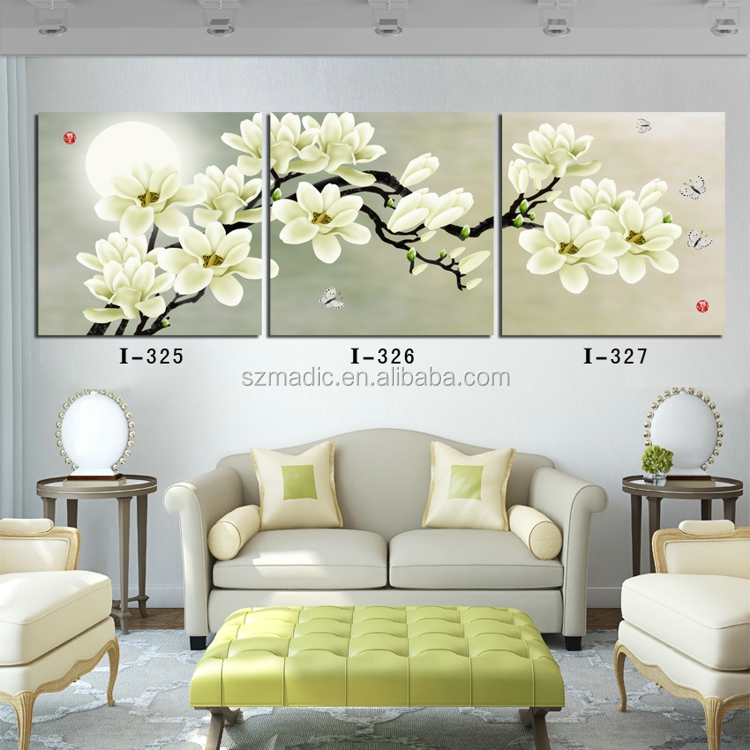 Oil Painting <strong>Pictures</strong> of Flowers 3 Panel White Maglonia Flower Room Decoration Wall Art for Christmas