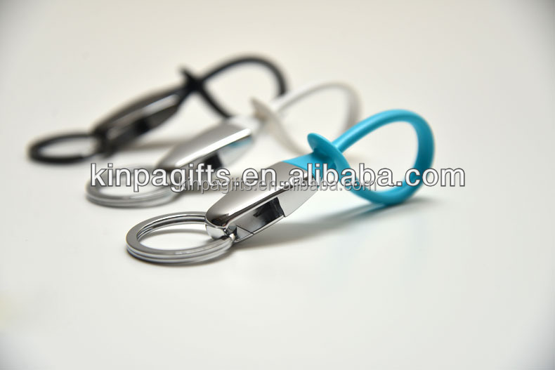 metal keychain with silicone straps promotion keychain