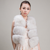 Myfur More Than Trade Women's Fox Fur Vest with White Design