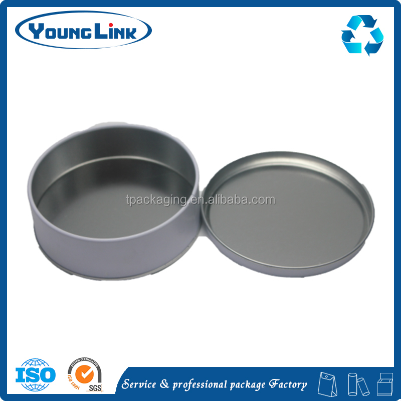 Shallow round wholesale custom metal round tin box with lid