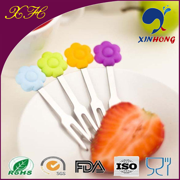 Funny New Design Stainless Steel Decorative Plastic Fruit Fork JBB-02