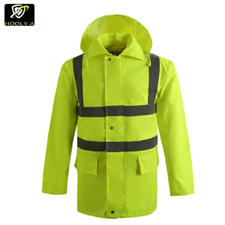 High visible two tone reflective strip waterproof safety rain coat