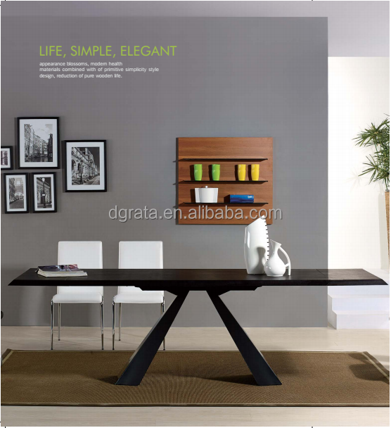 2016 Top quality black dinner table is made by E1 MDF with veneer for dinging room furniture