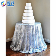 Silver Round Sequin Tablecloth Sparkly Custom glitter round christmas table cloth sequin table cloth