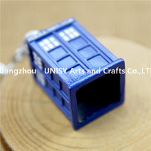 Beautifull new creative fashion mini police blue small box shape alloy key chain keyring gift