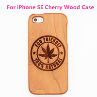 Two Parts Bamboo Buckle Cherry Wood Pattern Engraved Phone Cover for iPhone SE Wood Case for iPhone 5SE Case