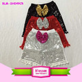 Beautiful Kids outfit pom pom shorts with sequin bow for children lovely baby clothing