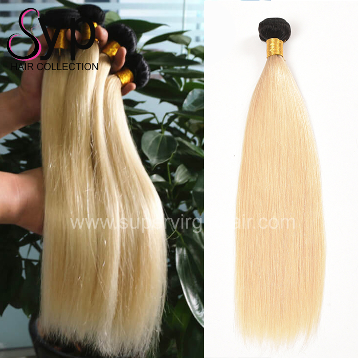 Straight Ombre Remy Malaysian Human Hair Extensions 1b 613 Blonde 3 Bundles With A 13x4 Lace Frontal Closure