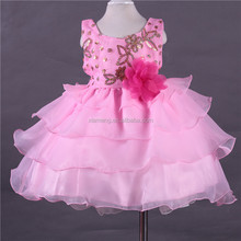 Pink colour embroidered baby girls frocks layered flower girl dresses fancy party babies frocks latest for 2-7 years
