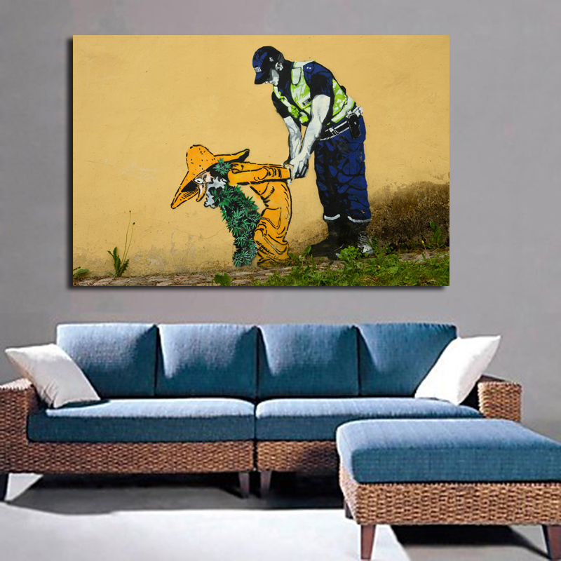 Modern Graffiti Decoration Wall Art Picture Canvas Painting Police