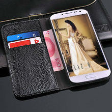 wallet stand case for samsung s4 , stand cove for galaxy i9500, Litchi wallet leather case for samsung galaxy s4 i9500