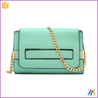 new style low cost design your own leather handbag green messenger bag
