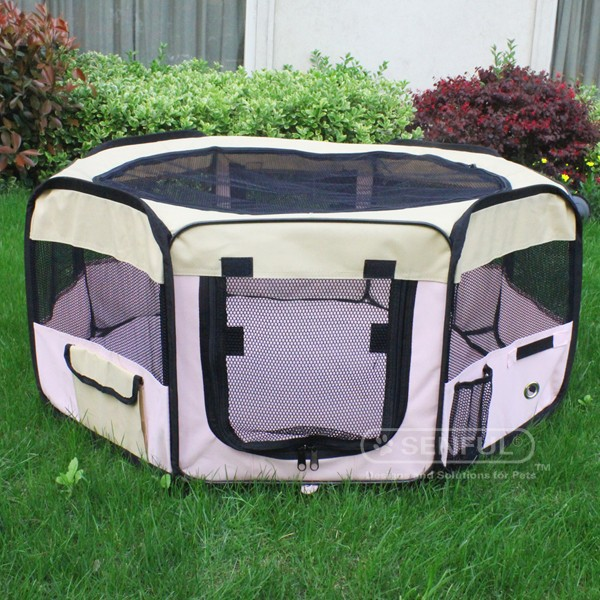 Eight Panels Folding Fabric Pet portable playpen Portable soft dog playpen
