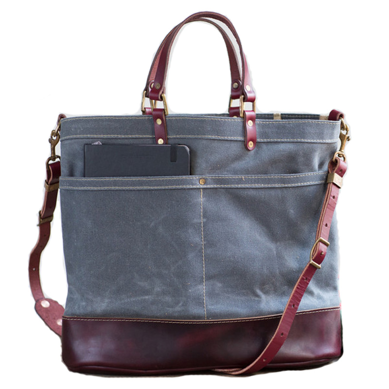 Retro Vintage Handled Style Genuine Leather And Waxed Cotton Canvas Tote Bag