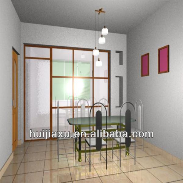 aluminum living room partition with double glass,living room kitchen partition