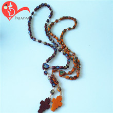 Best quality custom red wooden beads long necklace souvenirs made of wood