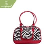 Fashion Pet Product Red Pu Leather Outdoor Dog Carrying Bags Ferret Carrier