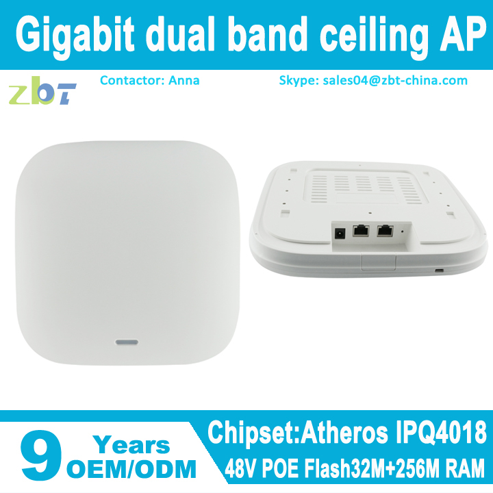 Atheros chipset 802.11ac Gigabit poe wireless ceiling AP