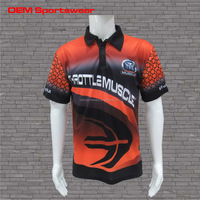 Sublimated stripe customized long sleeve polo shirt for men